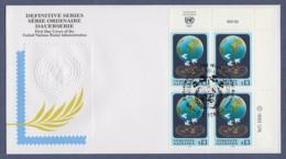 UNO Wien-UN Vienna FDC 1993 - MiNr. 149 - 4er Block - Freimarke-Erde Mit Friedenstauben - FDC