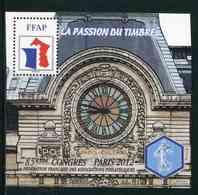 """FEUILLET-SOUVENIR** De 2012 De La FFAP """"85ème CONGRES POITIERS - LA PASSION DU TIMBRE - Gare D'Orsay"""" - FFAP"""