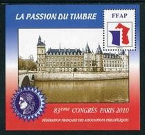 """FEUILLET-SOUVENIR** De 2010 De La FFAP """"83ème CONGRES PARIS - LA PASSION DU TIMBRE - Conciergerie"""" - FFAP"""