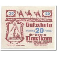 Billet, Autriche, Timelkam, 20 Heller, Personnage 1, 1920, 1920-04-01, SPL - Austria