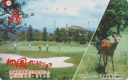 Rare Télécarte Ancienne Japon / 110-011 - ANIMAL - BICHE & Sport GOLF - HIND Japan Phonecard - HIRSCHKUH TK - 117 - Télécartes
