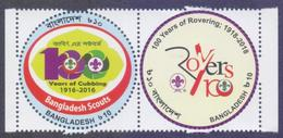 BANGLADESH 2018 - Scouting Scouts, 100 Years Of Rovering And Cubbing, Unusual Round Shape, Se-tenant Set MNH - Scouting