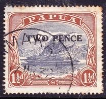 PAPUA 1931 2d On 1.5d Cobalt & Light Brown SG121 Used - Papua New Guinea