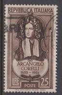 Italy Republic S 709 1953 3rd Centenary Birth Of Corelli,used - 6. 1946-.. Republic