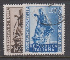 Italy Republic S 721-722 1953 Agriculture Exposition,used - 6. 1946-.. Republic