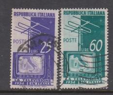 Italy Republic S 735-736 1954 Television,used - 6. 1946-.. Republic