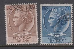 Italy Republic S 747-748 1954 Syracusean Coins,100 1nd 200 Lire,used - 6. 1946-.. Republic