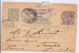 PORTUGAL- ENTIER-POSTAL- 1898- 10 REIS PLUS VALEUR COMPLEMENTAIRE 15 REIS POUR LA FRANCE - Interi Postali