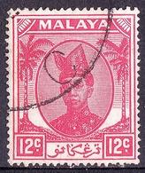 MALAYA TRENGGANU 1952 12c Scarlet SG76 FU - Trengganu