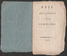 """Livret """"AVIS AUX LIEGEOIS Par UN EX-MINISTRE 1790"""" (12 Pages) - Historical Documents"""