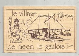 Cp , Carte En Bois , 22 ,PLEUMEUR-BODOU , Le Village De Meem Le Gaulois , 2 Scans ,  Vierge - Postales