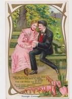 Carte Fantaisie Gaufrée    / Messager D'amour / Couple Sur Un Banc - Paare