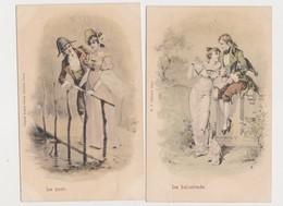 2 Cartes Fantaisie Dessinées    / Couple / La Balustrade ; Le Pont - Paare