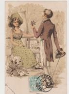 Carte Fantaisie Publicitaire /A La Parisienne , Fournitures Pour Modes &coutures 41, Grande Rue Besançon - Couples