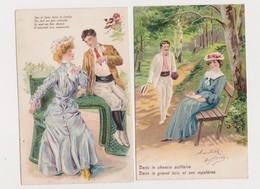 5 Cartes Fantaisie Gaufrées / Sur Le Banc - Paare
