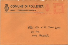 Tematica Comuni D'Italia: Affrancatura Meccanica Rossa Comune Di Pollenza (Macerata) Su Busta Del 23.10.1985 - Affrancature Meccaniche Rosse (EMA)