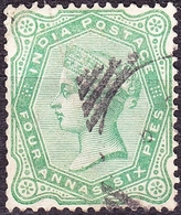 INDIA 1886 QV 4 Anna 6 Pie Yellow-Green SG97 Used - India (...-1947)