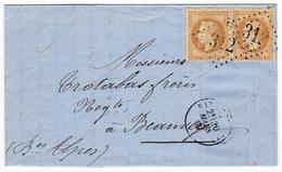 Lettre 1869 Barcelonnette Alpes De Hautes Provence Paire Napoléon III Lauré 10 Centimes Gassier Père Et Fils Banque Bank - 1863-1870 Napoleon III Gelauwerd