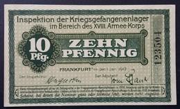 Billet 10 Pfennig LAGERGELD MONNAIE DE CAMP PRISONNIER DE GUERRE Kriegsgefangenenlager FRANKFURT - Autres