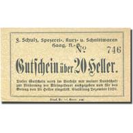 Billet, Autriche, Schulz, 20 Heller, Valeur Faciale, SPL, Mehl:FS 320b - Austria