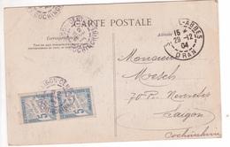 1904 Carte (école Indigène) Sidi-Bel-Abbès Algérie 5c BLANC > INDOCHINE TAXE PAIRE 5c Banderole Cachet SAIGON-CENTRAL TB - Impuestos