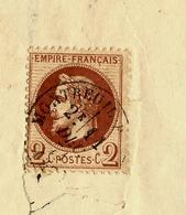 Sur LETTRE 1871 TIMBRE YVERT N° 26 à Voir Côte Lettre Comice Agricole Coudray Arrondissement De Saumur - 1849-1876: Période Classique