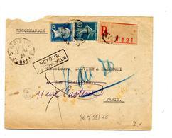 Lettre Recommandée Paris XVII Sur Pasteur + Retour + Mention Ecrite - Marcophilie (Lettres)