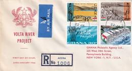 Ghana 1966, Registered FDC Complete Set Volta River Project - Ghana (1957-...)