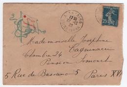 1920 25c SEMEUSE Type IV  Carnet / Enveloppe Cie Générale Transatlantique Cachet SAINT-NAZAIRE LOIRE- INFERIEURE > PARIS - Francia
