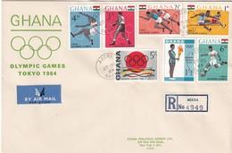 Ghana 1964, Registered FDC Complete Set Sports Olympic Games - Ghana (1957-...)