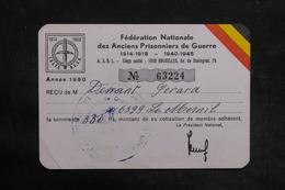 MILITARIA - Belgique - Carte De La Fédération Des Anciens Prisonniers De Guerre En 1980 - L 35605 - Documents