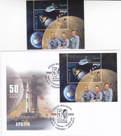 2019, Moldova , Moldavie , Moldawien , 50 Years From The First Moon Landing MS , Apollo XI , Space , USA , S/s  MNH +FDC - Moldova