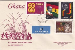 Ghana 1963, FDC Complete Set National Founders Day - Ghana (1957-...)