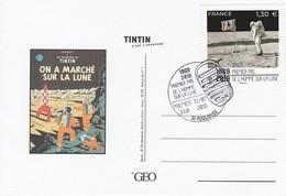 APOLLO 11 - TINTIN C'est L'aventure, Premier Pas Sur La Lune, France 2019 Sur Carte GEO - FDC & Commémoratifs