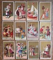 12 Cartons Publicitaires CHOCOLAT GUERIN-BOUTRON - Scènes D'enfants - Chocolate