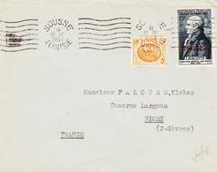 TUNISIE ,de SOUSSE  En 1954, Lavalette Surcharge Tunisie Et Complèment  TB - Tunisie (1888-1955)