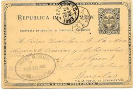 SH 0014 - COLOMBIE EP 2c - De BUCARAMANGA 16 DIC 1892 + Cachet MARITIME LIGNE A/PAQ.FR. N° 2 V. BRUXELLES. Dos BARBADOS. - Colombia
