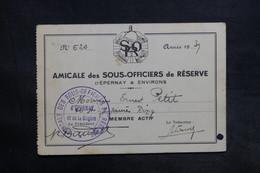 FRANCE - Carte De L' Amicale  Des Sous Officiers De Réserve D'Epernay En 1939 - L 35638 - Drapeaux