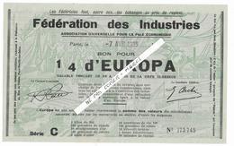 """FEDERATION DES INDUSTRIES - """" 1/4 D'Europa """" - MILITARIA - Association Pour La Paix économique  - 1935 - Rare - Documenti Storici"""