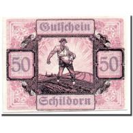 Billet, Autriche, Schildorn, 50 Heller, Personnage, 1920-12-31, SPL, Mehl:959a - Austria