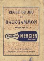 Brochure Publicitaire Champagne Mercier - Règle Du Jeu BACKGAMMON - Advertising