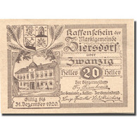 Billet, Autriche, Ziersdorf, 20 Heller, Blason 1920-12-31, SPL Mehl:FS 1276a - Austria