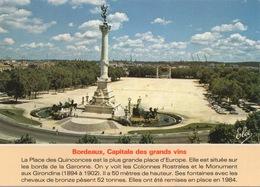 CPSM 33 BORDEAUX Capitale Des Grands Vins - La Place Des Quinconces - Le Monument Aux Girondins - Bordeaux