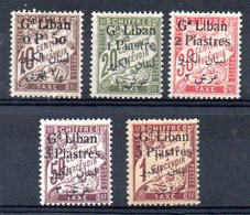 GRAND LIBAN - YT Taxe N° 6 à 10 - Neufs * - MH - Cote: 35,00 € - Great Lebanon (1924-1945)