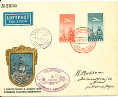 Denmark Cover First Air Mail Flight 6-8-1939 Nyköbing Falster - Copenhagen With Nice Postmarks And Cachet - 1913-47 (Christian X)