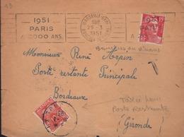 Taxe De Poste Restante Bordeaux RP 31-3 1951 Cachet Manuel Sur 10f Gerbe - Lettres Taxées
