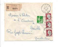 AFFRANCHISSEMENT COMPOSE SUR LETTRE RECOMMANDEE DE FURES ISERE 1960 - Marcophilie (Lettres)