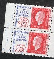 France 1994  -  Oblitéré Used - Scanné Recto Verso - Y&T N° 2863 - Journée Du Timbre Marianne De Dulac - Paire Verticale - France