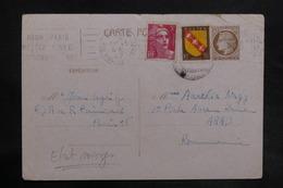 FRANCE - Entier Postal Type Mazelin + Compléments De Paris En 1947 Pour La Roumanie - L 35654 - Cartes Postales Types Et TSC (avant 1995)