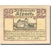 Billet, Autriche, Aspach, 20 Heller, Château 1920-08-31, SPL, Mehl:FS 57c - Austria